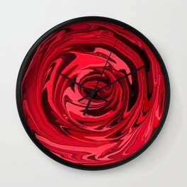 Red Apple Pink Swirl Abstract Wall Clock
