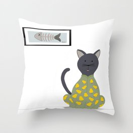 Cat in a Onesie Throw Pillow