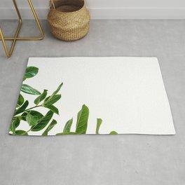 Minimalist Mid Century Abstract Houseplant Green Leaves Fig Tree Rug