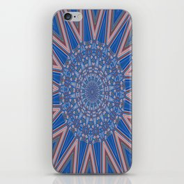 Blue Red and White Kaleidoscope Pattern iPhone Skin