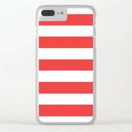 Vivaldi Red - solid color - white stripes pattern Clear iPhone Case