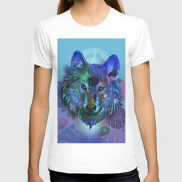 wolf tropical art decor T-shirt