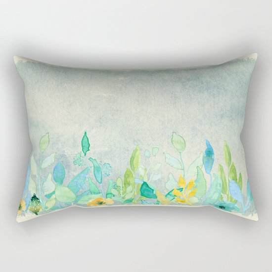 flowers in a meadow - Floral watercolor illustration Rectangular Pillow