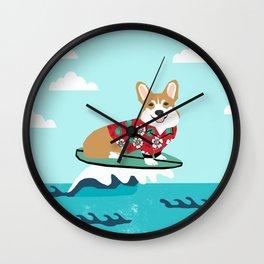 welsh corgi surfing dog art corgis Wall Clock
