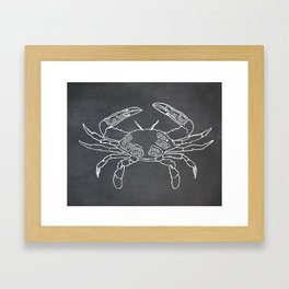 Crab Butcher Diagram (Seafood Meat Chart) Framed Art Print