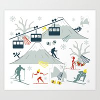 ski Art Prints featuring SKI LIFTS by BLUE VELVET DESIGNS