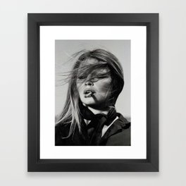 Brigitte Bardot Smoking a Cigarette, Black and White Photograph Framed Art Print