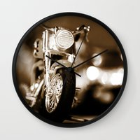 motorbike Wall Clocks featuring Motorbike-Sepia by Yar's Photography