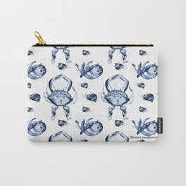 Blue Crab Toile Carry-All Pouch