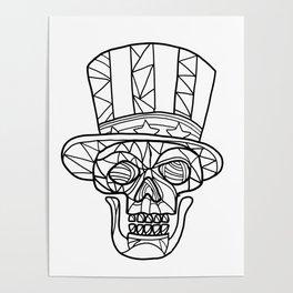 Skull Uncle Sam Black and White Mosaic Poster
