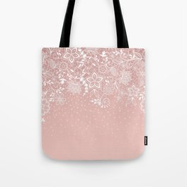 Elegant white lace floral and confetti design Tote Bag