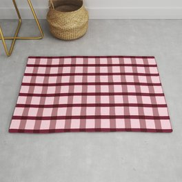 Pink & Burgundy Jagged Edge Plaid Rug