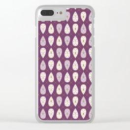 Pretty stylized tear drop leaves pattern Clear iPhone Case