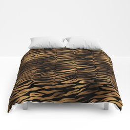 Gold and black metal tiger skin Comforters