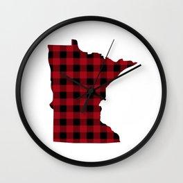 Minnesota - Buffalo Plaid Wall Clock