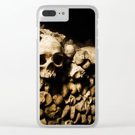 Skull walls in the catacombs Clear iPhone Case