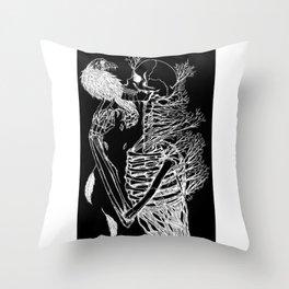 Negative SkullRose Throw Pillow