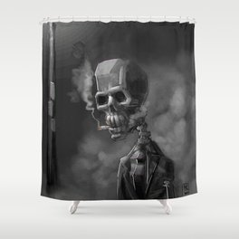 Noir Skeleton Digital Illustration Shower Curtain