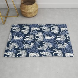Nouveau white tigers // navy blue background blue leaves silver lines white animal Rug