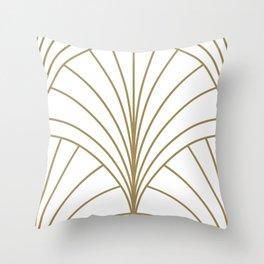 Round Series Floral Burst Gold on White Throw Pillow