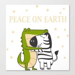 Peace on earth Crocodile & Zebra Canvas Print