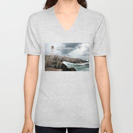 Peggy's Cove Light House -- Nova Scotia Unisex V-Neck