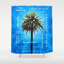 Long Beach, California - Palm Tree -  Pop Art Shower Curtain