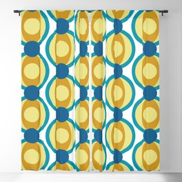 Retro Circle Pattern Mid Century Modern Turquoise Blue and Marigold Blackout Curtain
