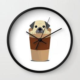 Coffee and Pugs Pet Dog Lovers - Coffee Lovers Wall Clock
