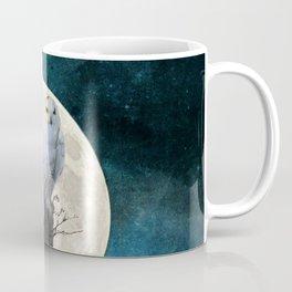 White Snowy Owl Bird Moon Blue A141 Coffee Mug