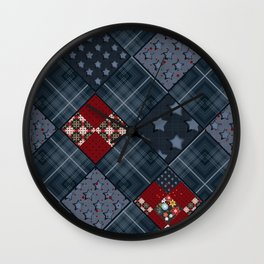 Dark blue -denim- patchwork Wall Clock