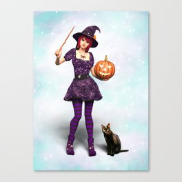 Cute Halloween Witch Canvas Print