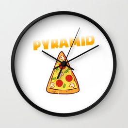 """My Food Pyramid Fruit Dairy Veggies Carbohydrates"" Food Shirt For Snack Lovers Pepperoni Cheese Wall Clock"