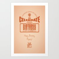 sarcasm Art Prints featuring Birthday Sarcasm by Wayne Stohs Art & Design
