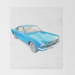 65 Mustang Fastback Throw Blanket