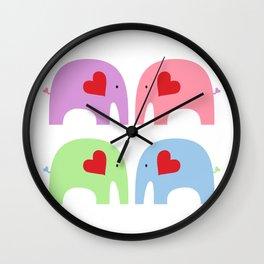 Rainbow Elephants Wall Clock