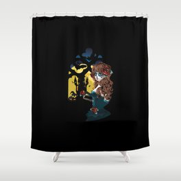 Zombie girl and window Shower Curtain