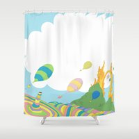 dr seuss Shower Curtains featuring oh the places you'll go .. dr seuss by studiomarshallarts