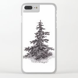 Lonely Pine Tree Clear iPhone Case