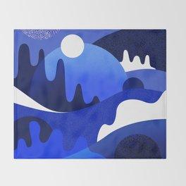 Terrazzo landscape blue night Throw Blanket