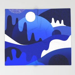 Terrazzo landscape blue night Throw Blanket