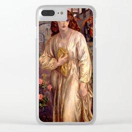 "Dante Gabriel Rossetti ""Salutation of Beatrice"" Clear iPhone Case"
