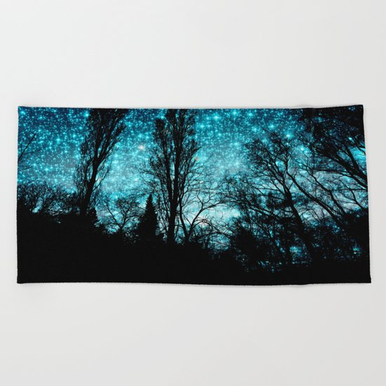 black trees teal space Beach Towel