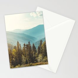 Peaceful landscape panoramic view. Mountain and blue sky background.  Stationery Cards