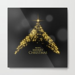 Gold Sparkle Wish You A Merry Christmas Tree Metal Print