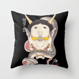 hannya and snake Throw Pillow