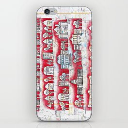 Madison, WI Neighborhoods Continuous Line Drawing on vintage map UW Badgers iPhone Skin