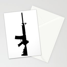 AR15 in black silhouette on white Stationery Cards