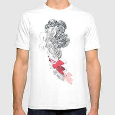 in red Mens Fitted Tee SMALL White