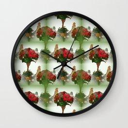Poinsettia Tree Wall Clock